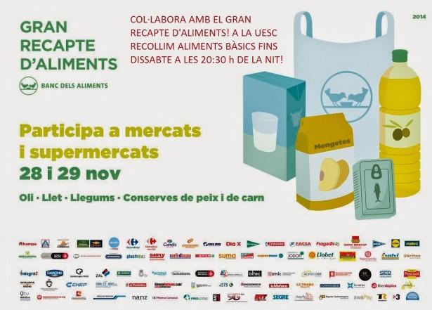 Cartell Gran Recapte 2014 Banc dels Aliments a la UESC