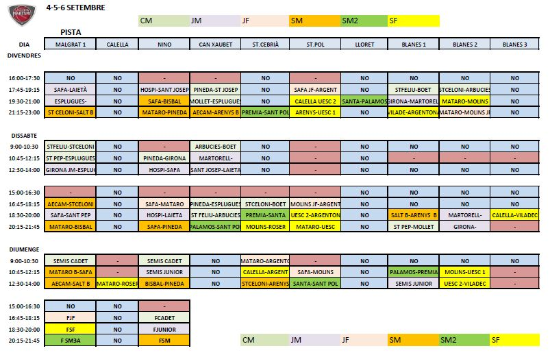 Copa Maresme Calendari
